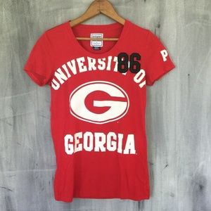 VS PINK Georgia Bulldogs Red Black T-shirt
